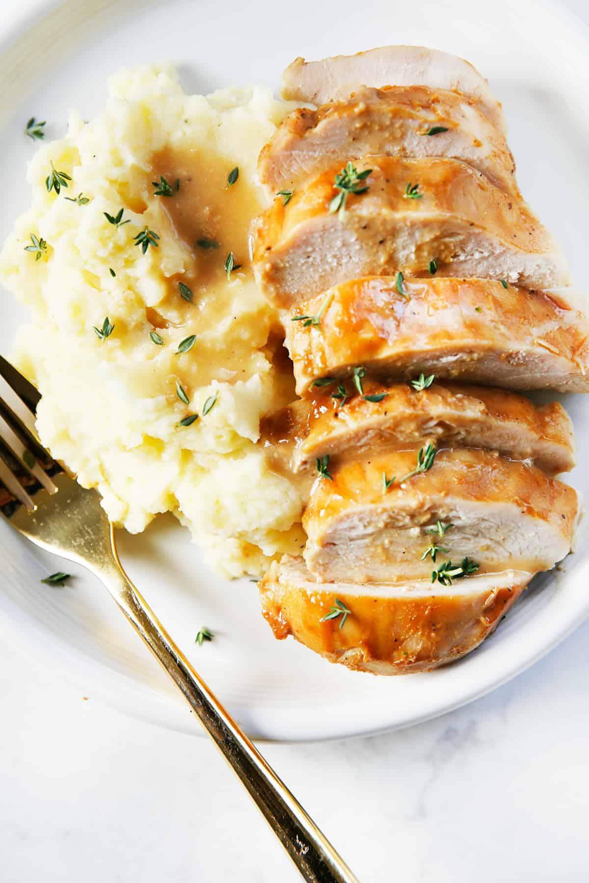 Baked dijon chicken breasts.