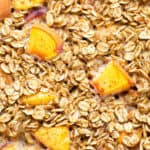 A close up look at Peaches and Cream Oatmeal with cinnamon.
