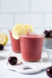 Cherry Lemonade smoothie in a glass.