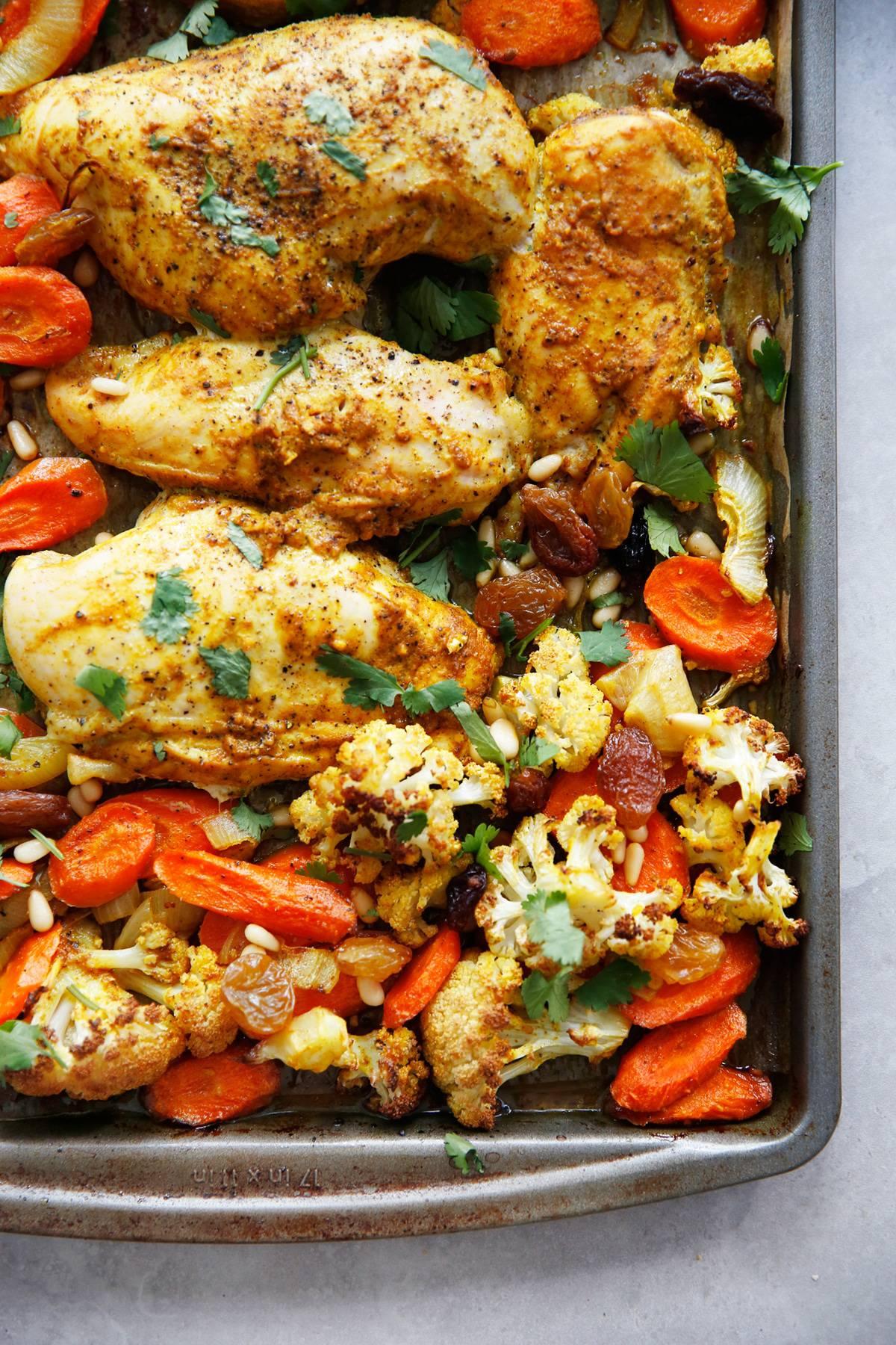 Sheet pan curry chicken.