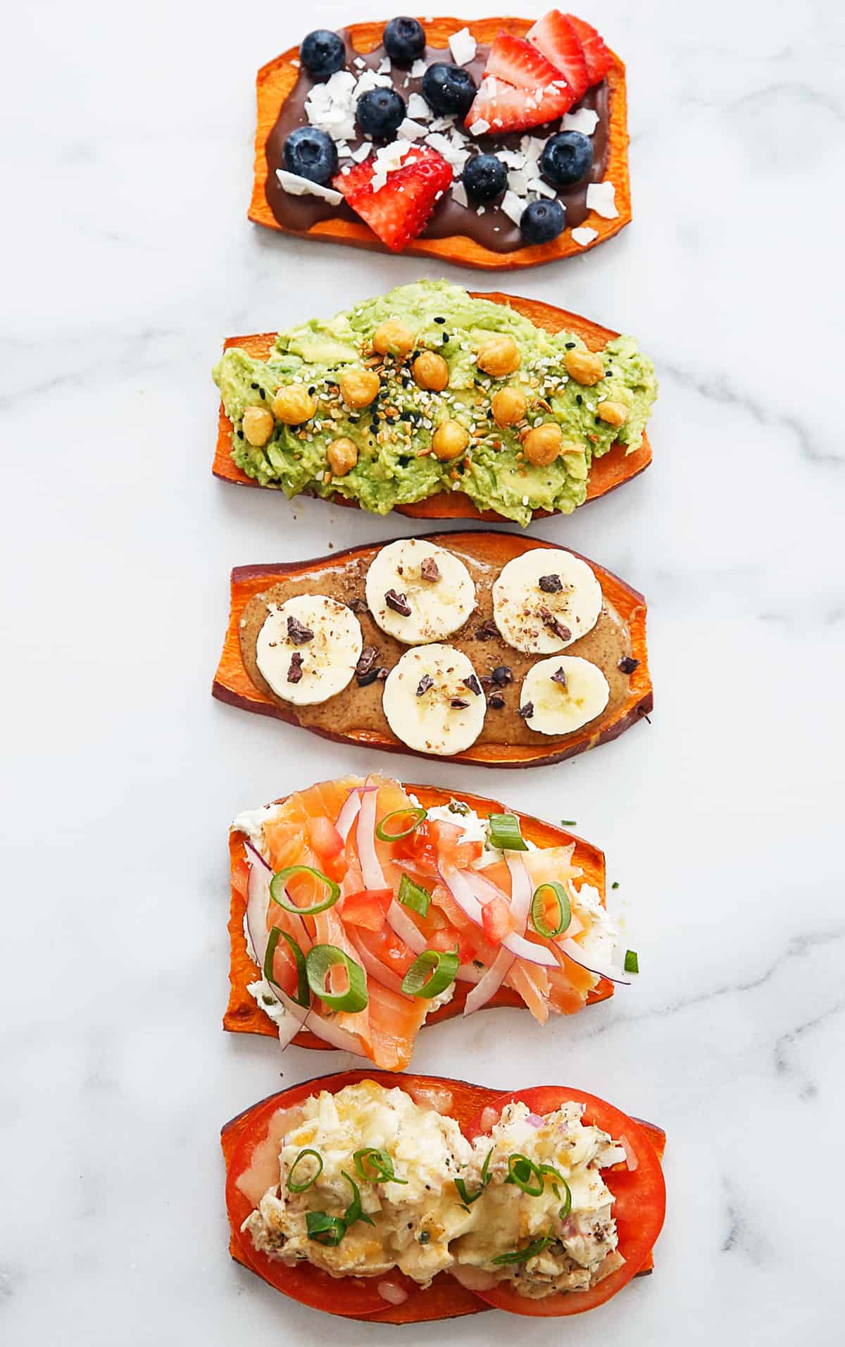 Five different sweet potato toasts.