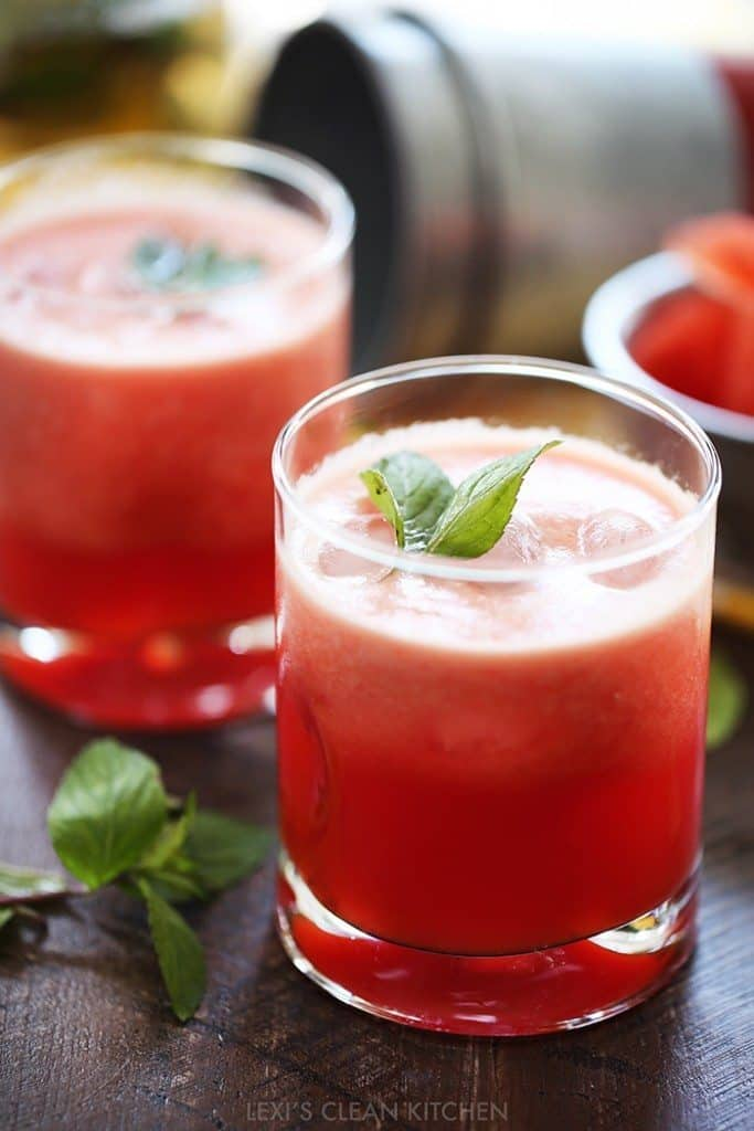 Watermelon juice in a glass.