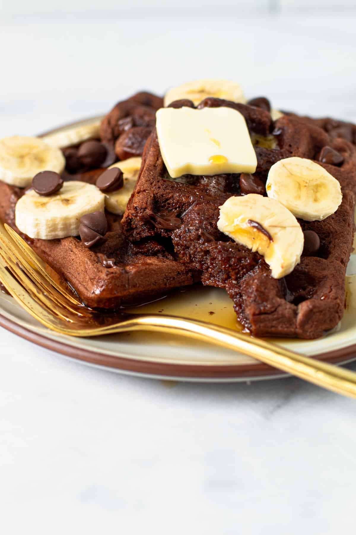Double chocolate banana waffles.
