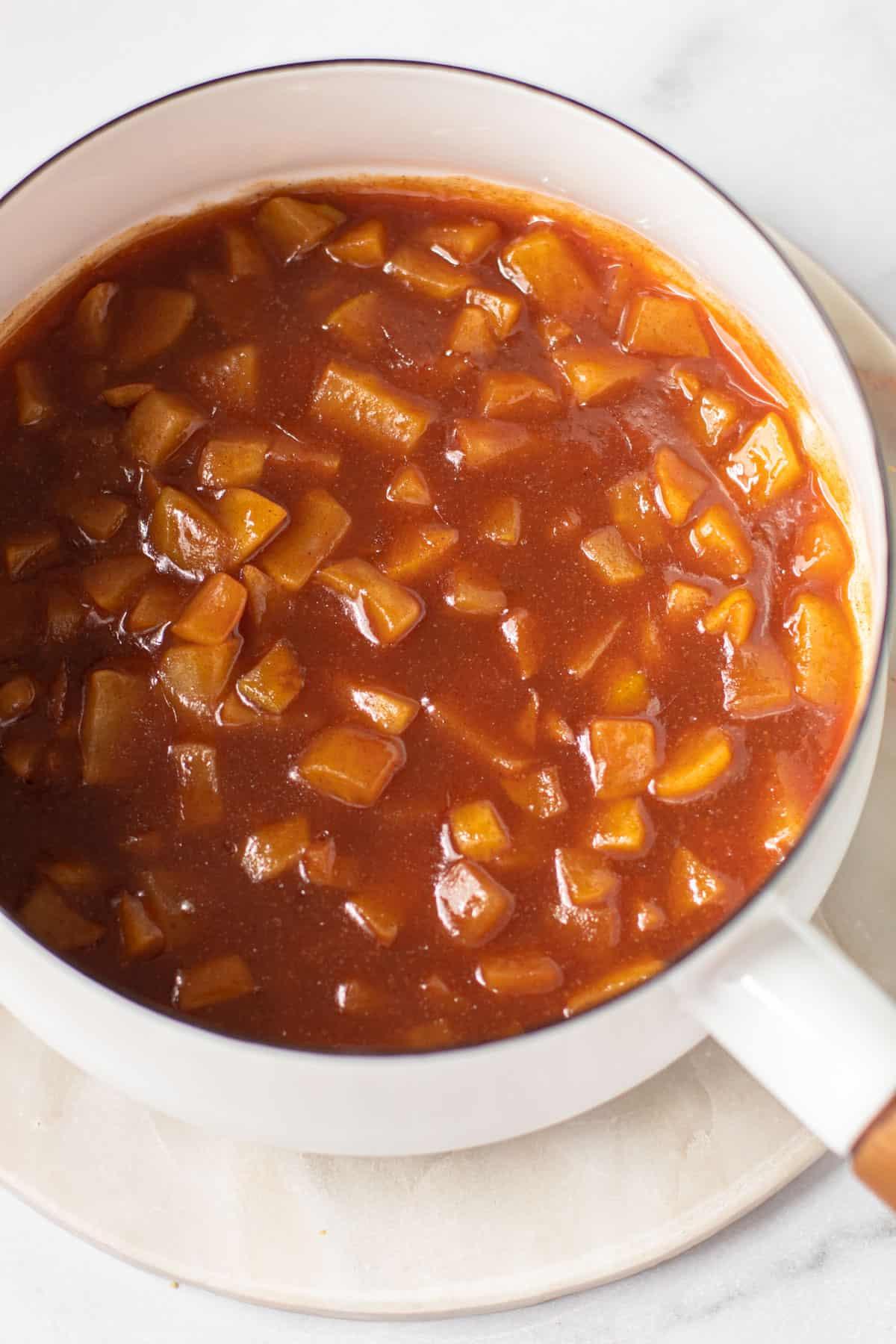Apple pie bar filling in a pot.