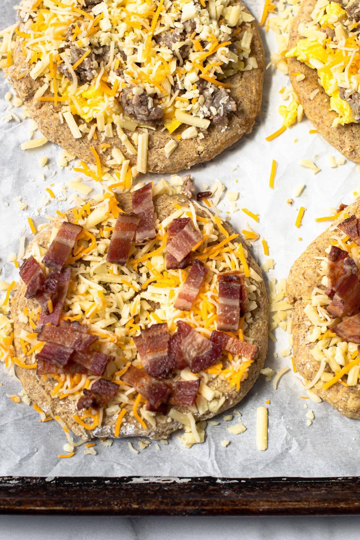 Breakfast pizza on a baking sheet.
