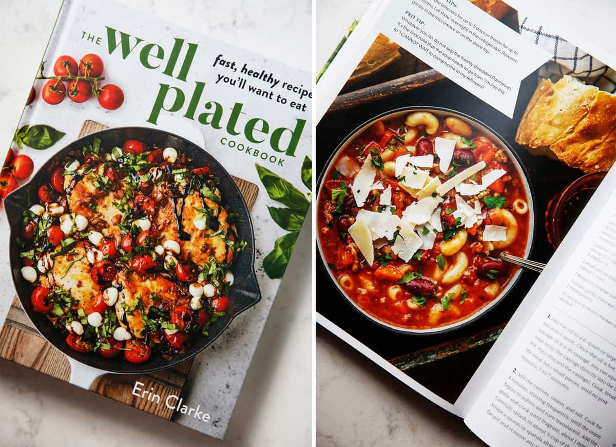Cover of Well Plated Cookbook and inside photo of recipe
