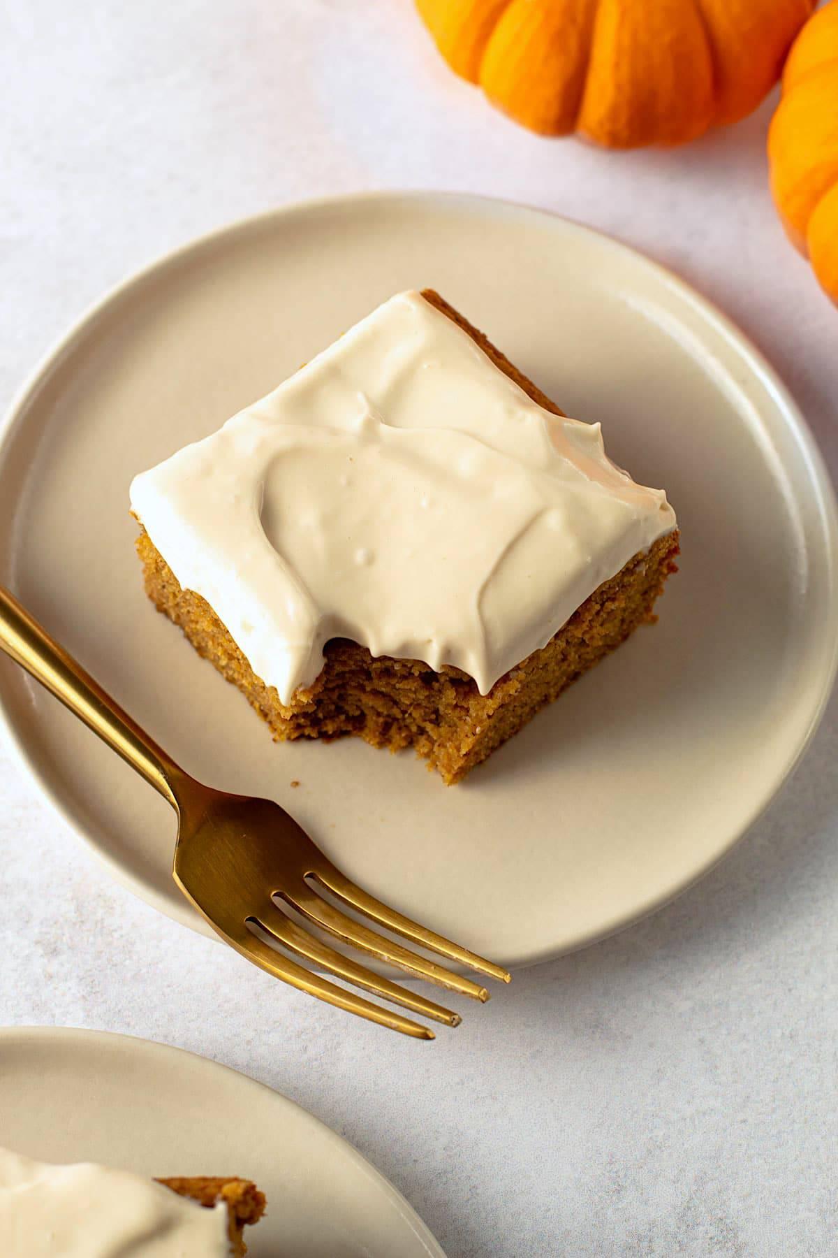 A slice of healthy pumpkin cake.