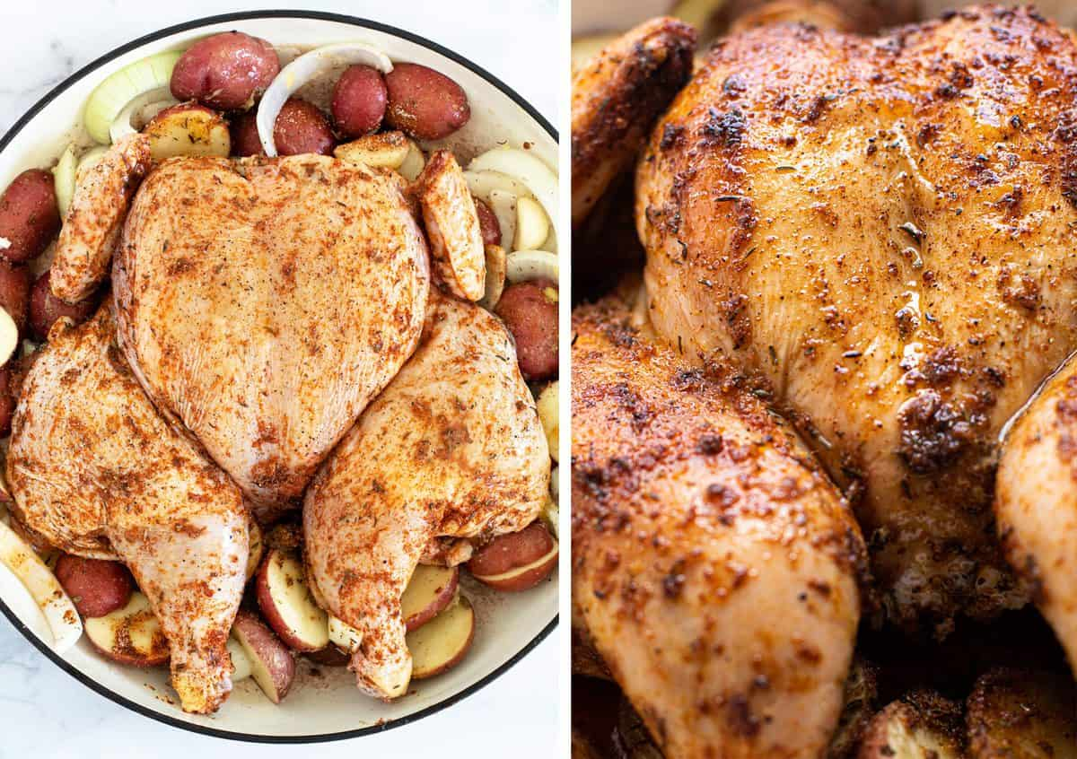 Before and after photo of a baked spatchcock chicken.