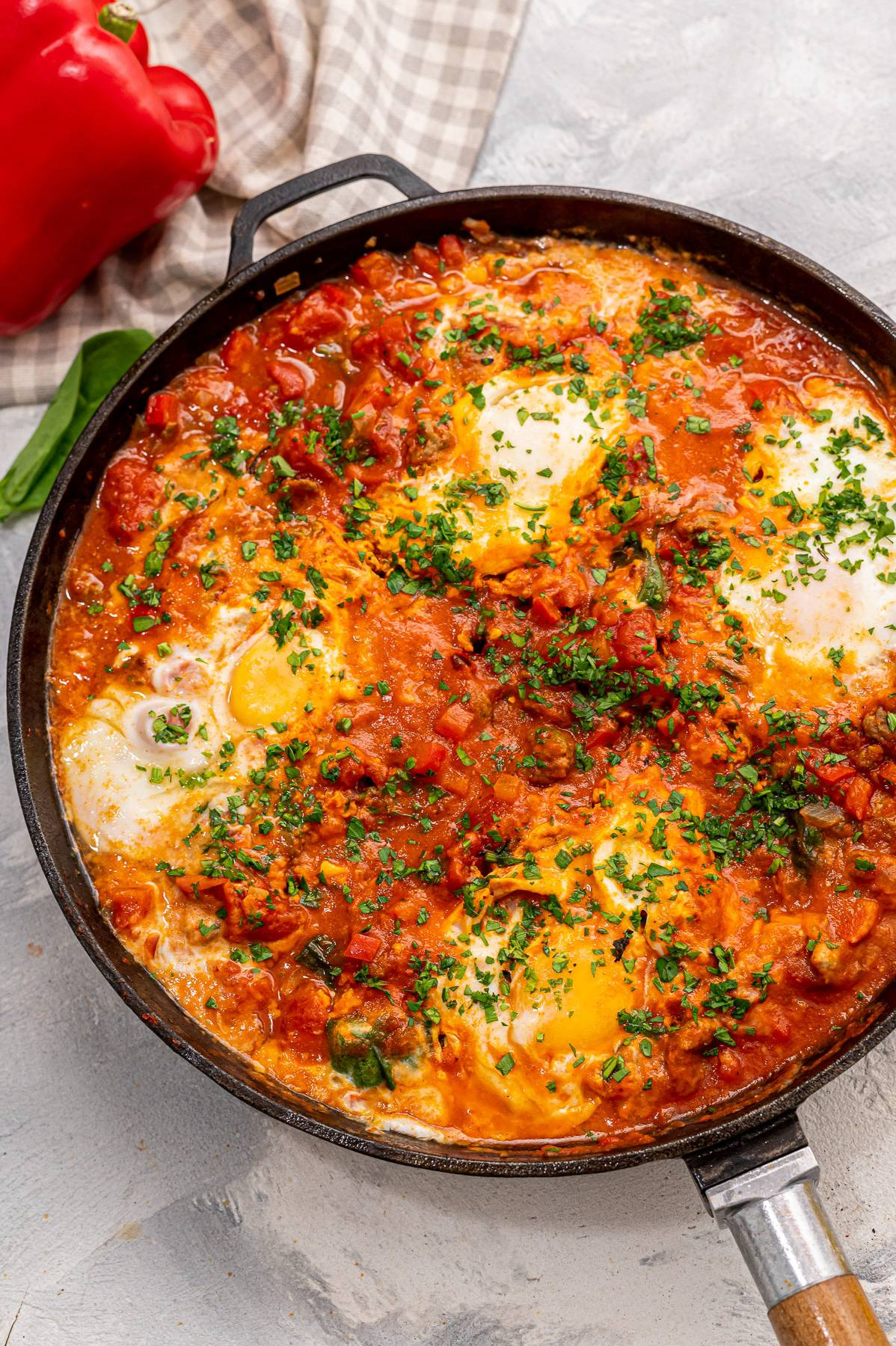 Easy shakshuka in a skillet.