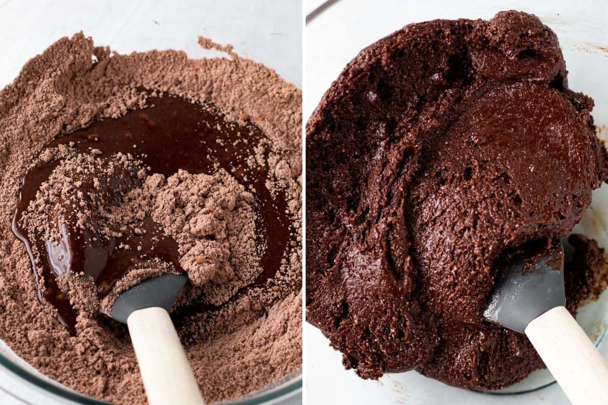 Mixing the batter for chocolate crinkle cookies.