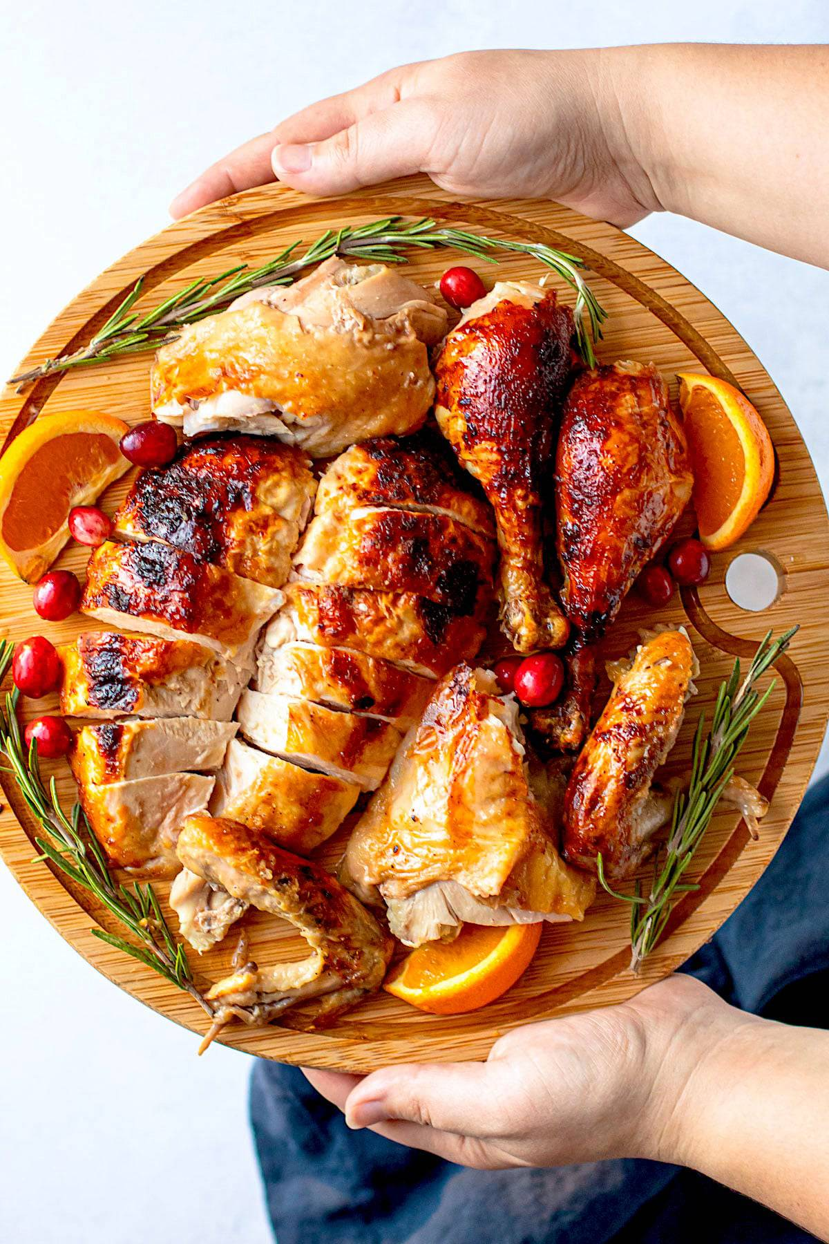 A cut up holiday roasted chicken.