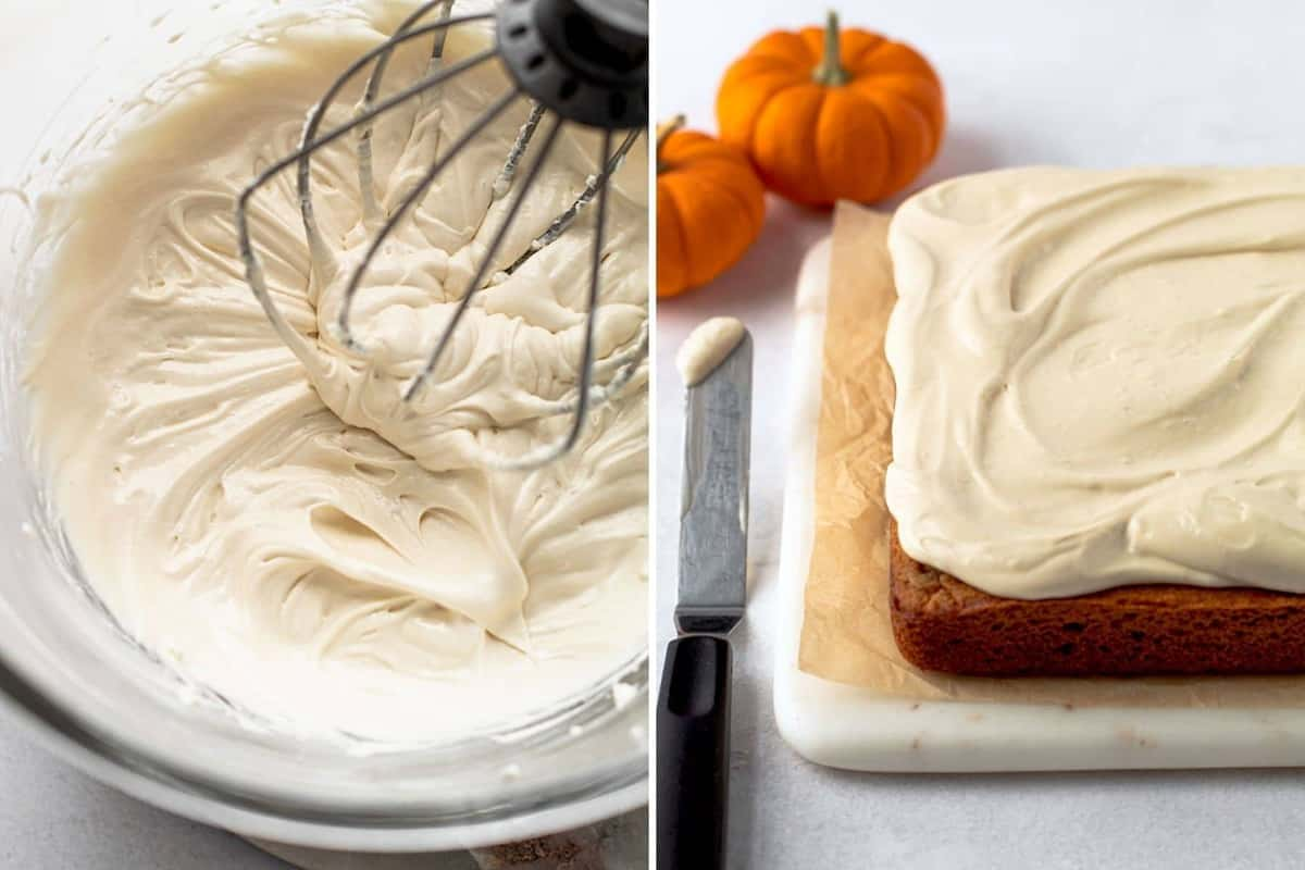 Fluffy frosting for healthy pumpkin sheet cake