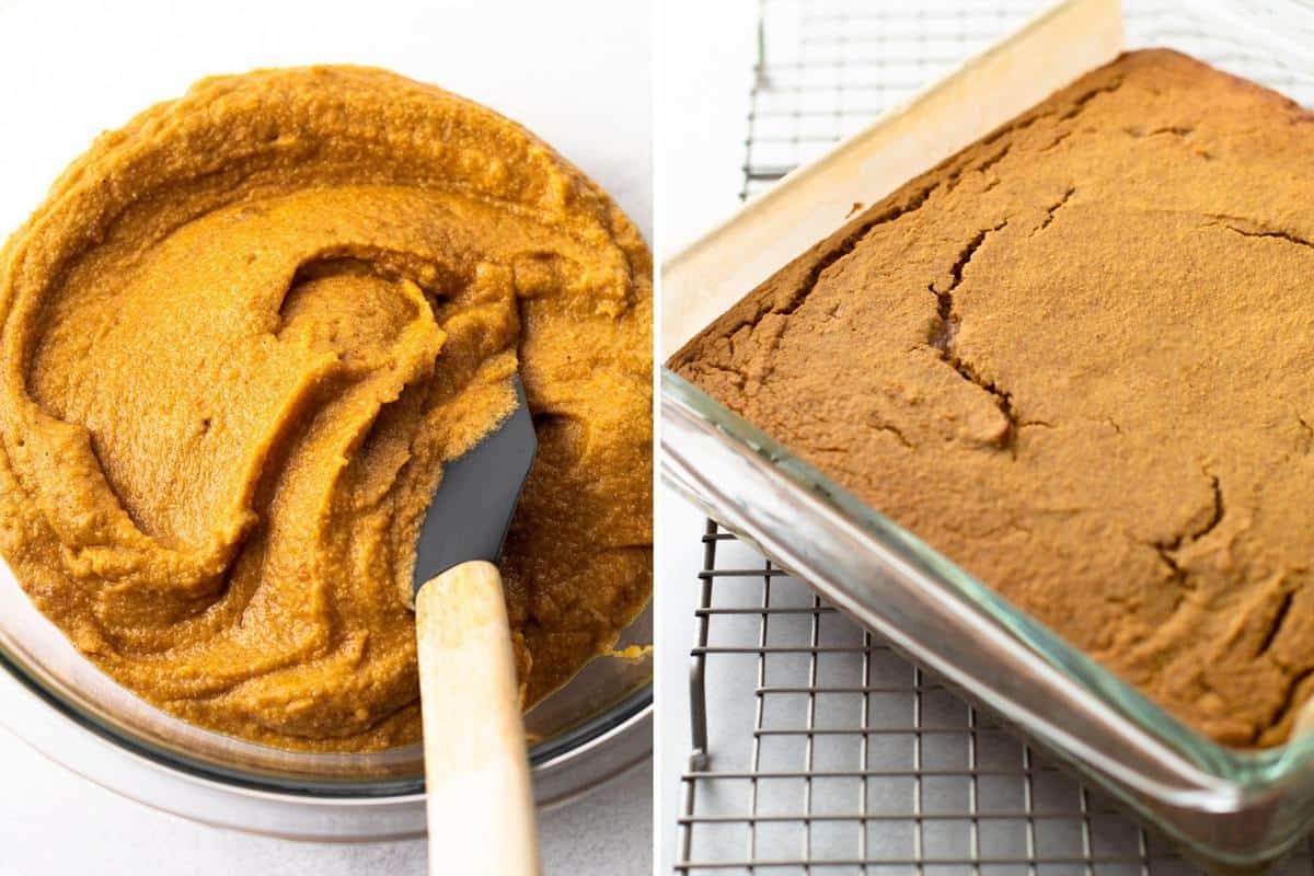 The pumpkin cake batter in a bowl next to it fully baked.