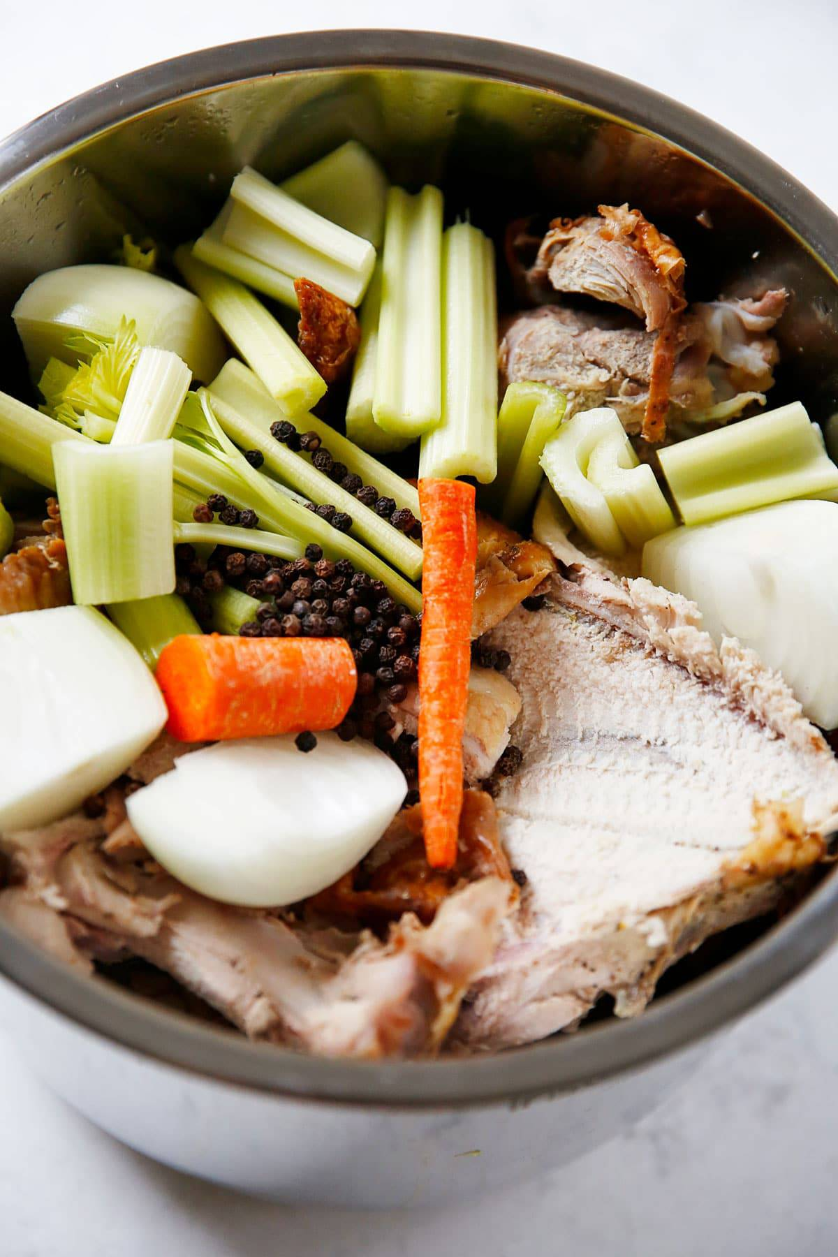 Turkey carcass and veggies in the instant pot to make stock