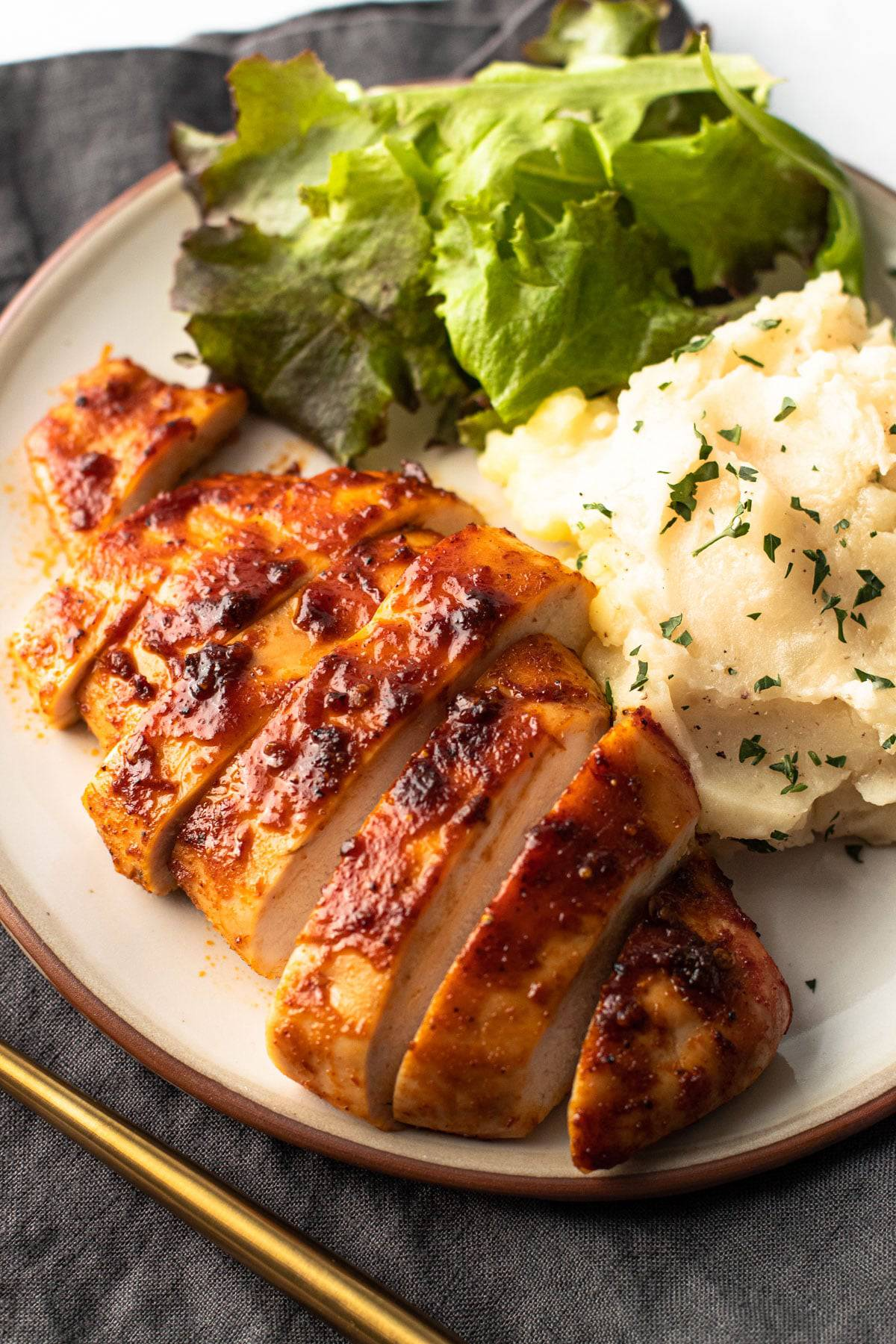 Sliced baked chipotle chicken.