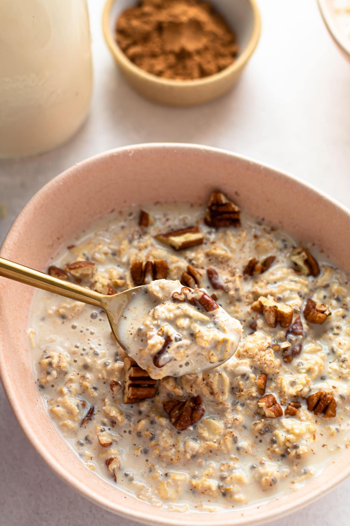 A spoonful of overnight oats.