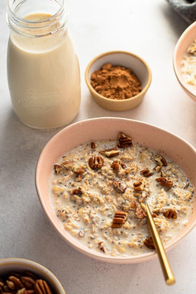 Eggnog overnight oats.