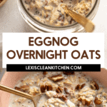 Eggnog overnight oats with chopped pecans.