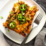 A slice of Mexican breakfast casserole.