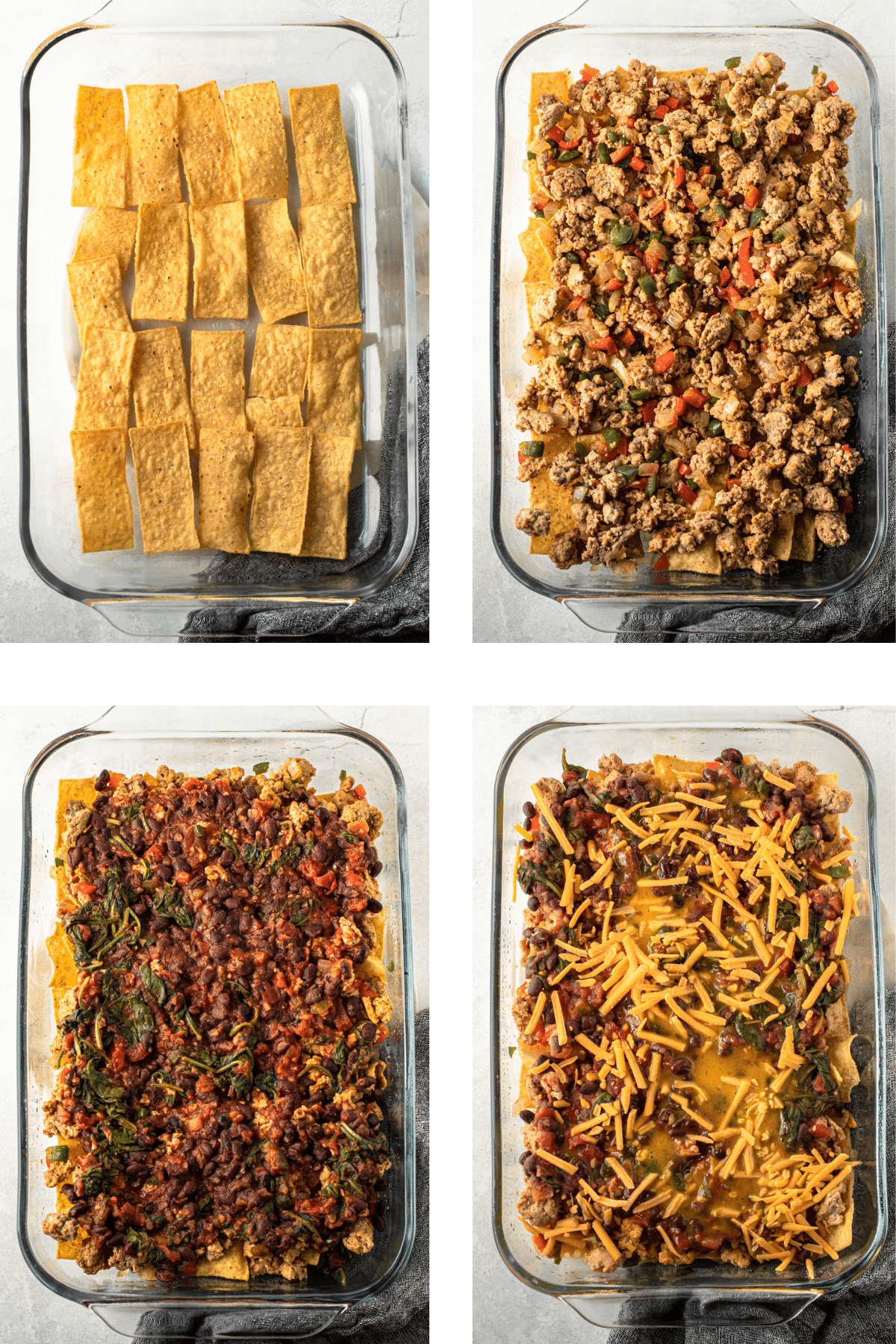 Layers of ingredients to make a breakfast casserole.