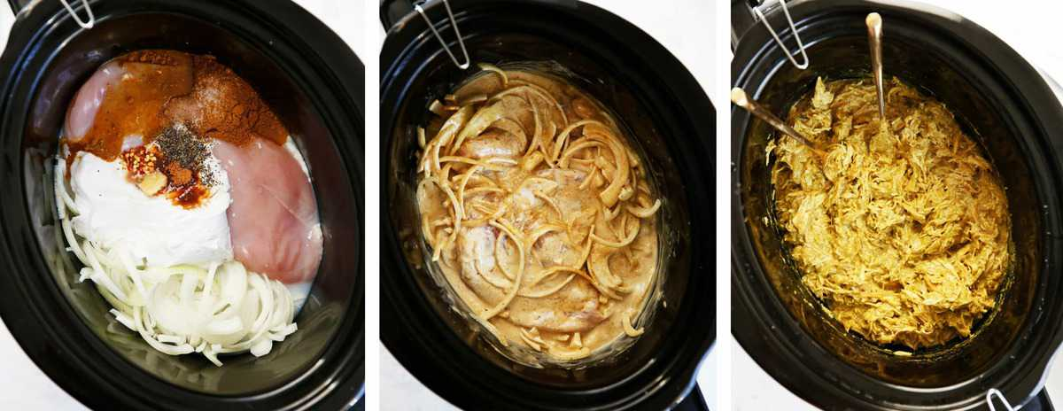 The preparation of crockpot curry chicken.