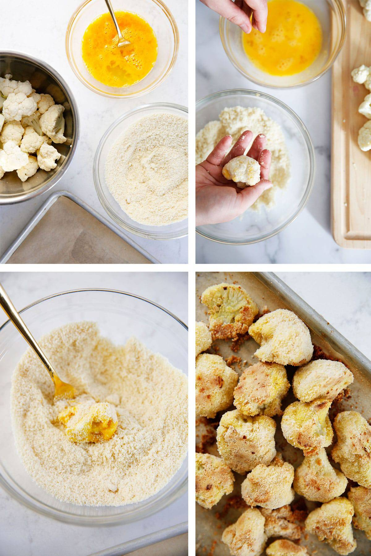 Steps for making cauliflower wings.