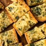 Slices of gluten-free garlic bread.
