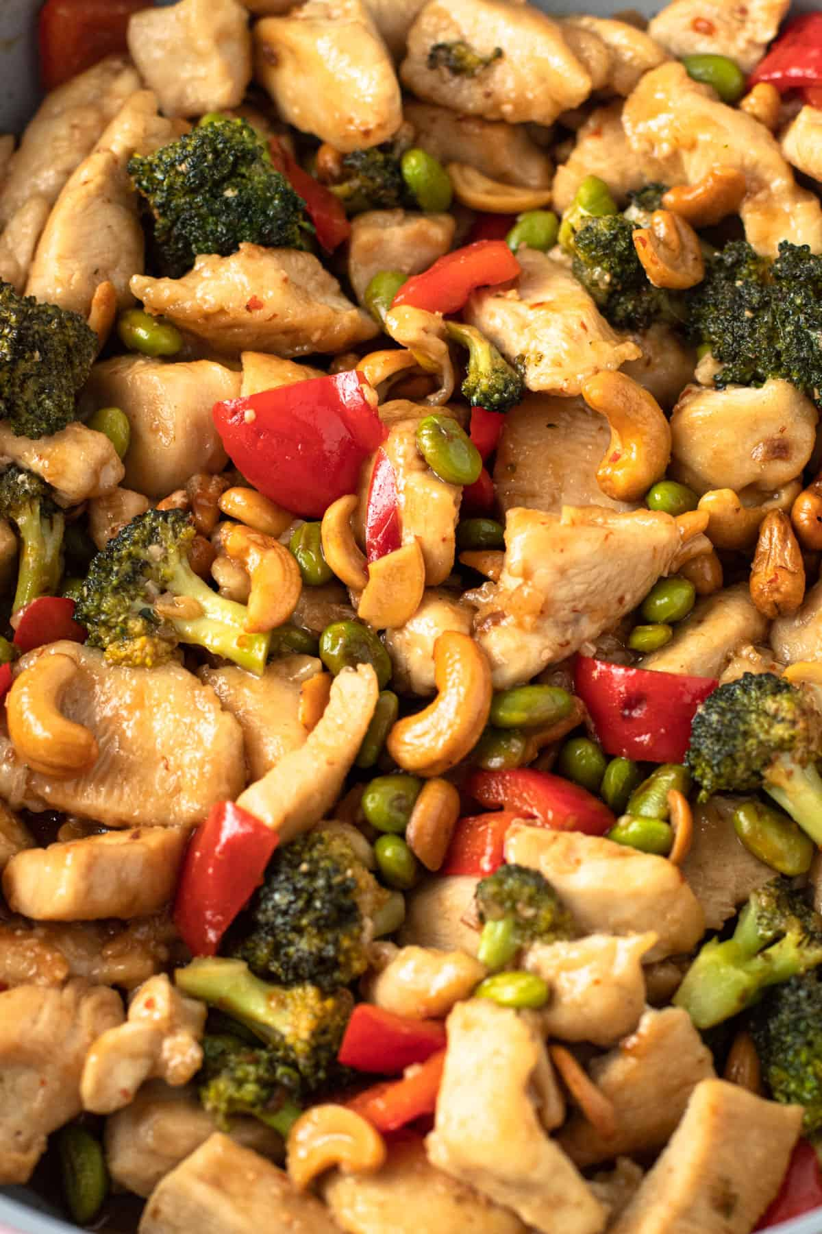 Paleo cashew chicken with broccoli and red pepper.