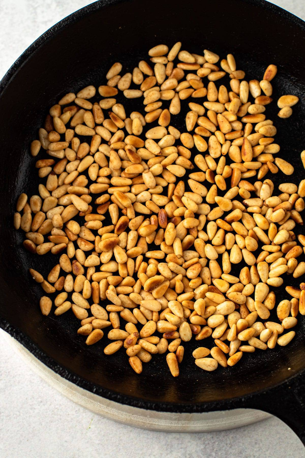 Toasted pine nuts for cauliflower soup garnish.