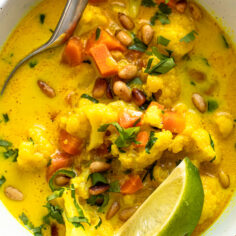 Vegan Cauliflower Soup with Ginger and Turmeric