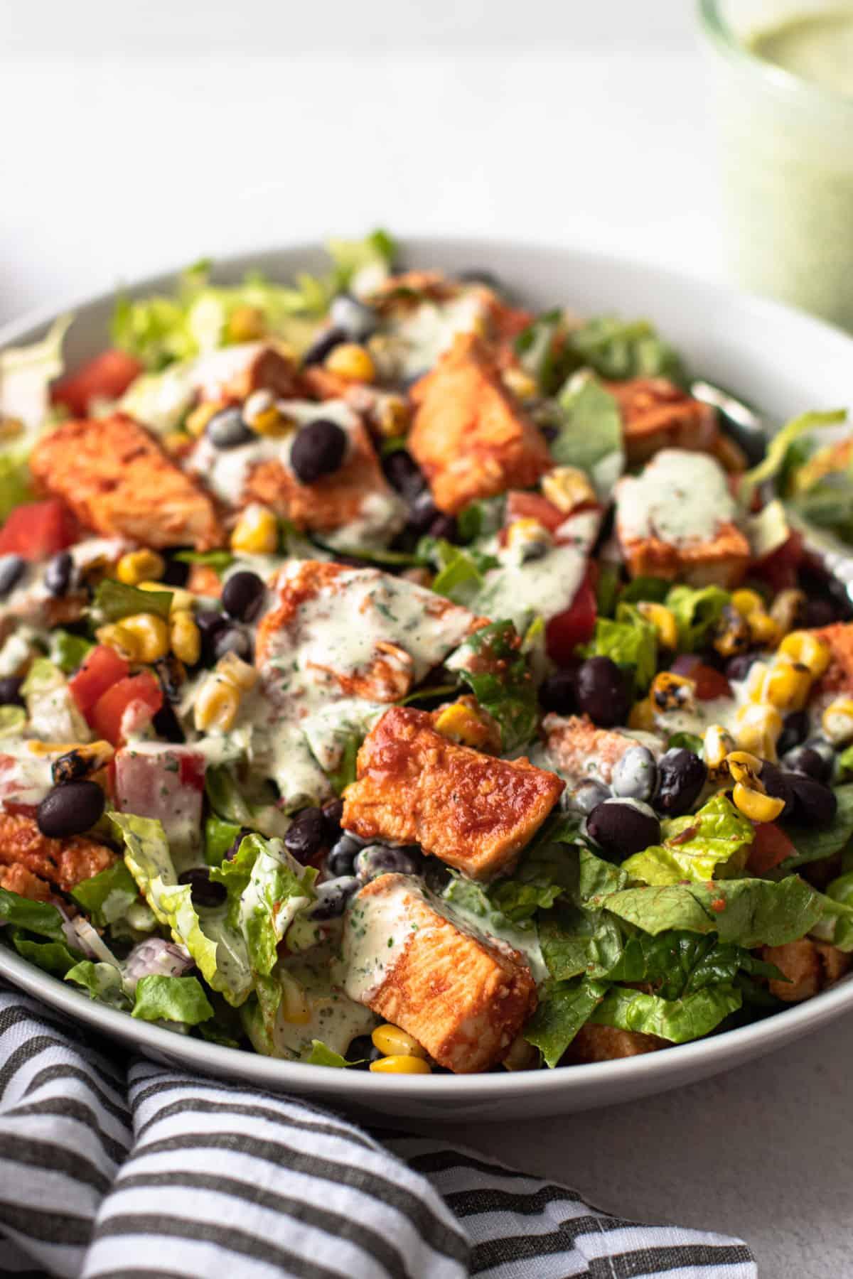 Dairy-free BBQ chicken salad in a bowl.