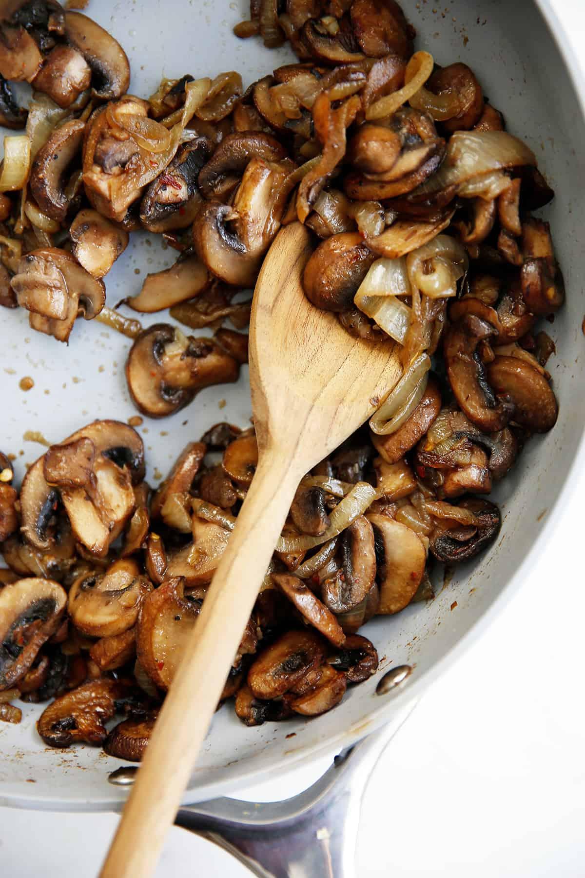 Mushrooms for Ricotta Pasta in pan