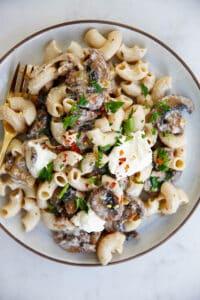 Mushroom Ricotta Pasta on plate