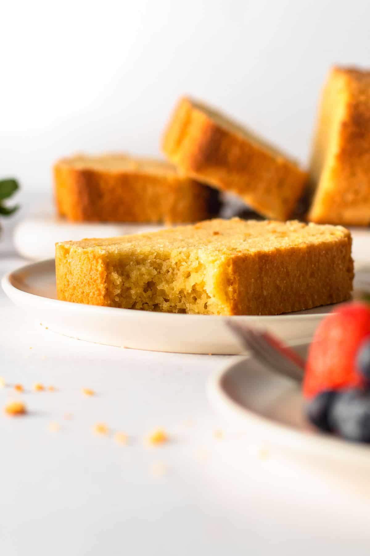 Gluten-free pound cake on a plate.
