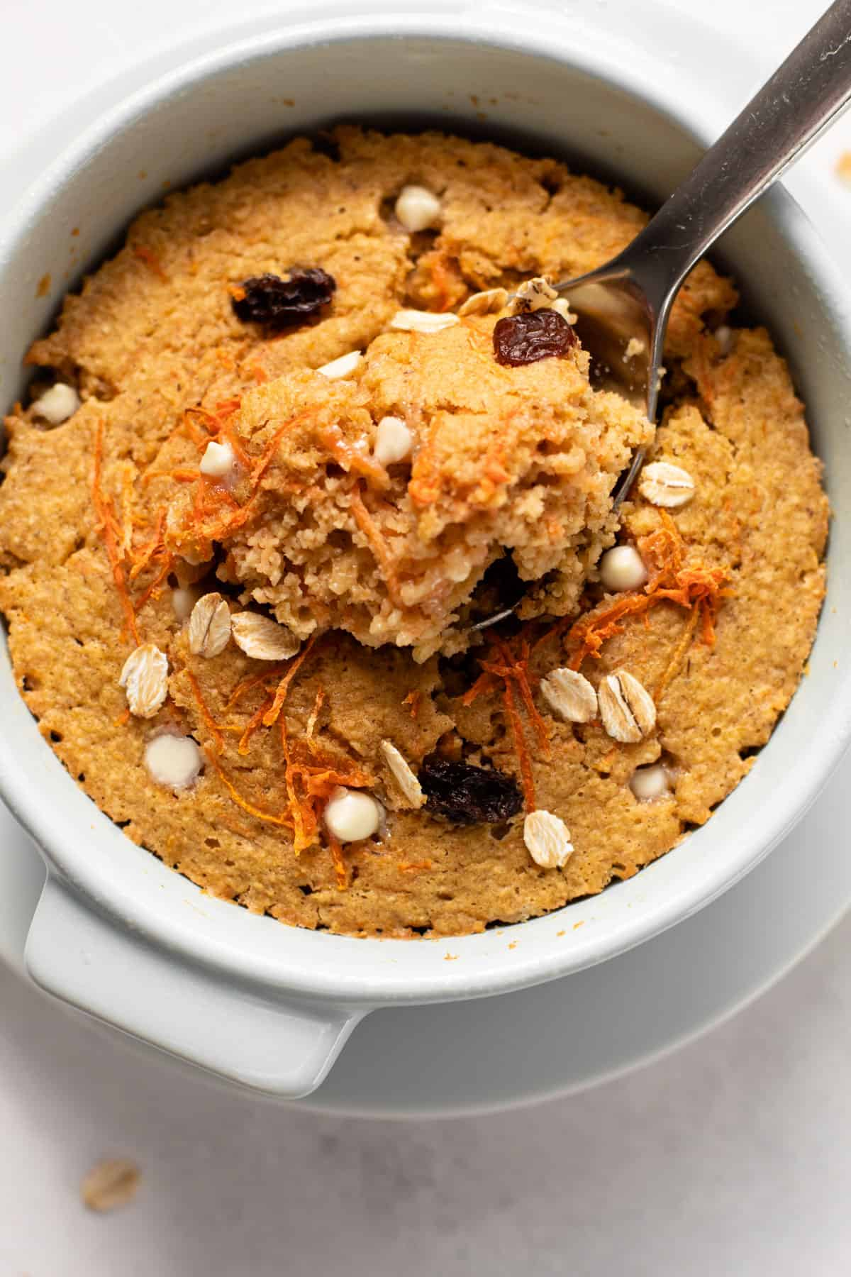 Baked blended oats with carrots and raisins.