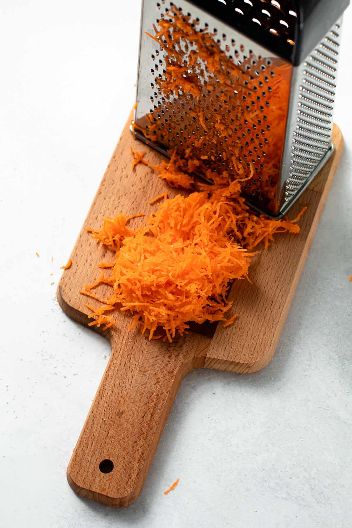 Carrots grated for baked oats.