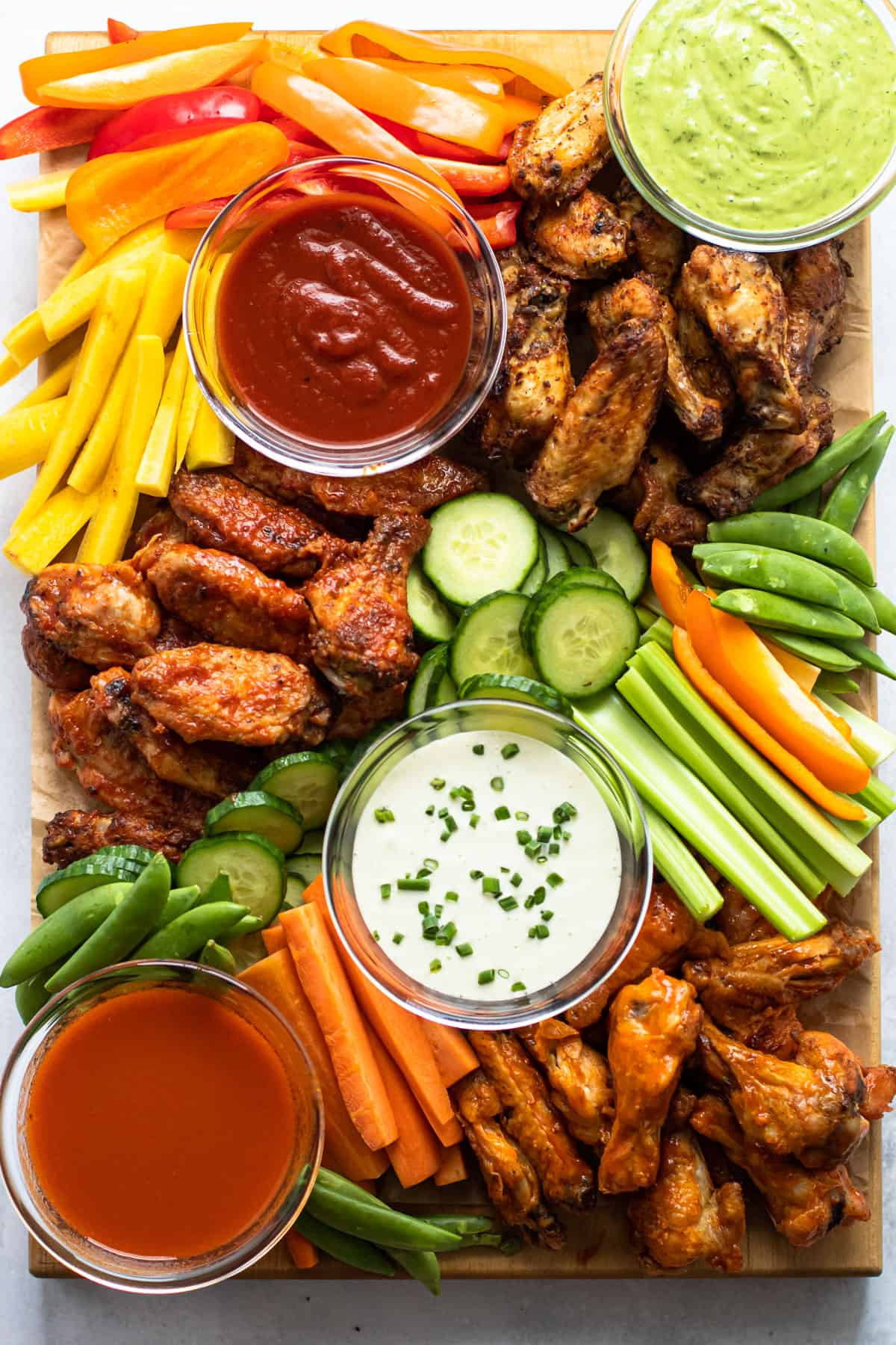 Chicken wing charcuterie board.