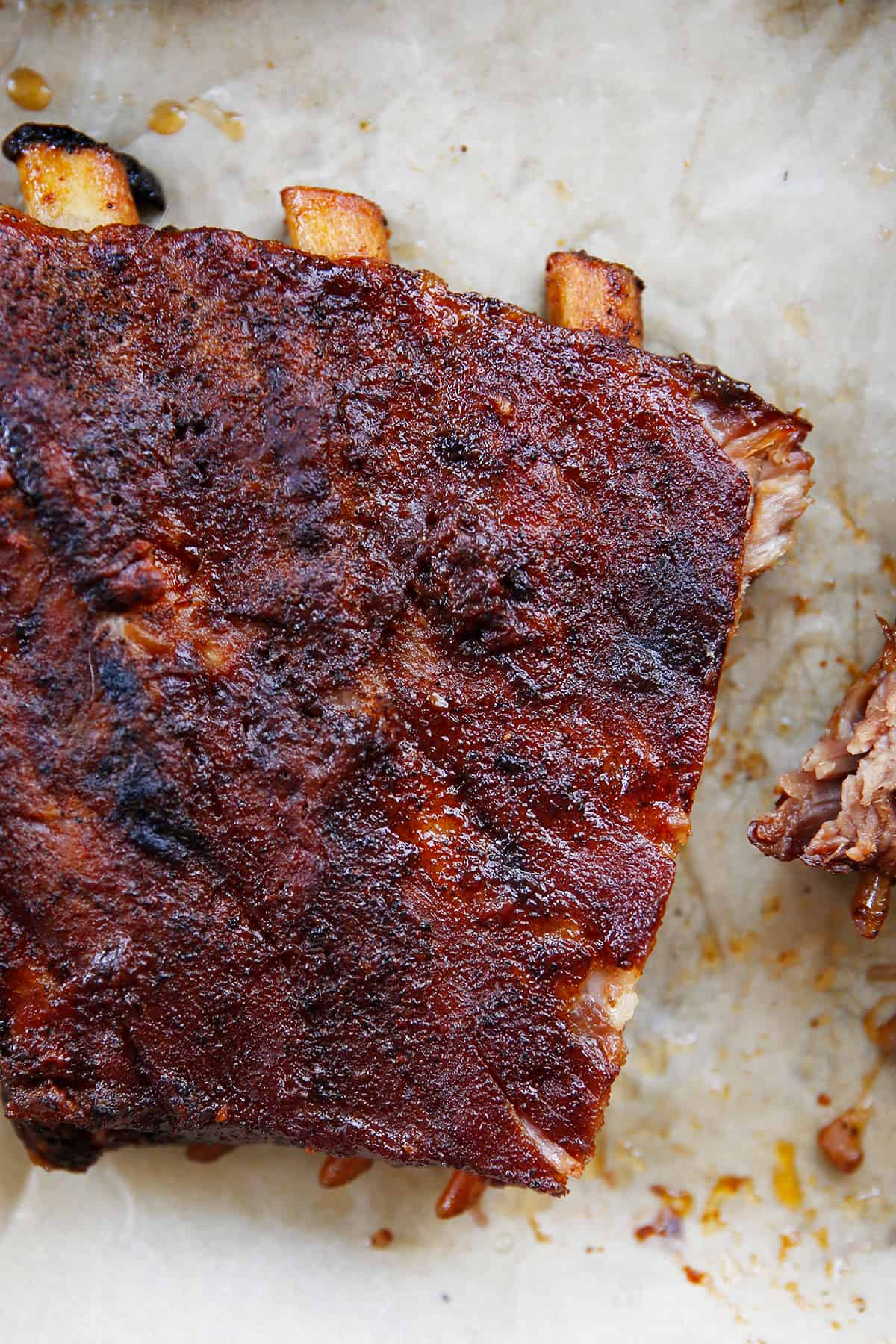 A close up of juicy slow cooker ribs.