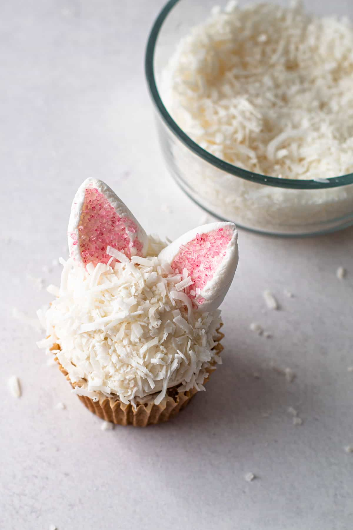 Bunny Cupcakes made from marshmallows and shredded coconut.