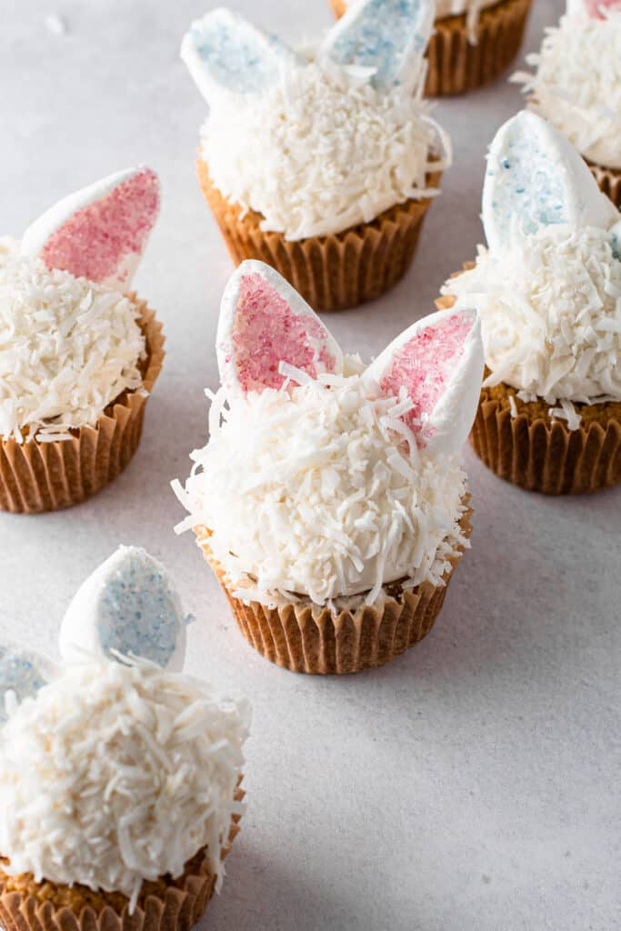 Gluten Free Easter Bunny Cupcakes.