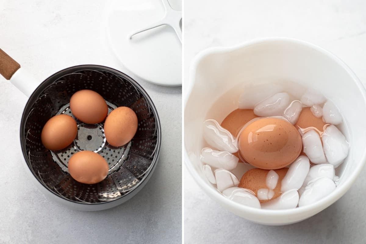 Preparing eggs for breakfast salad.