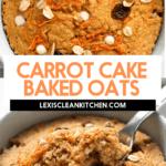 Carrot cake baked oats in a small white ramekin.