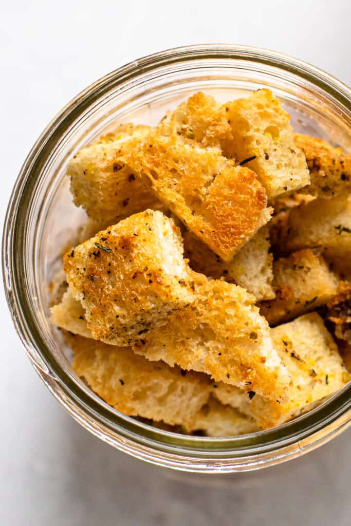 Croutons in a jar.