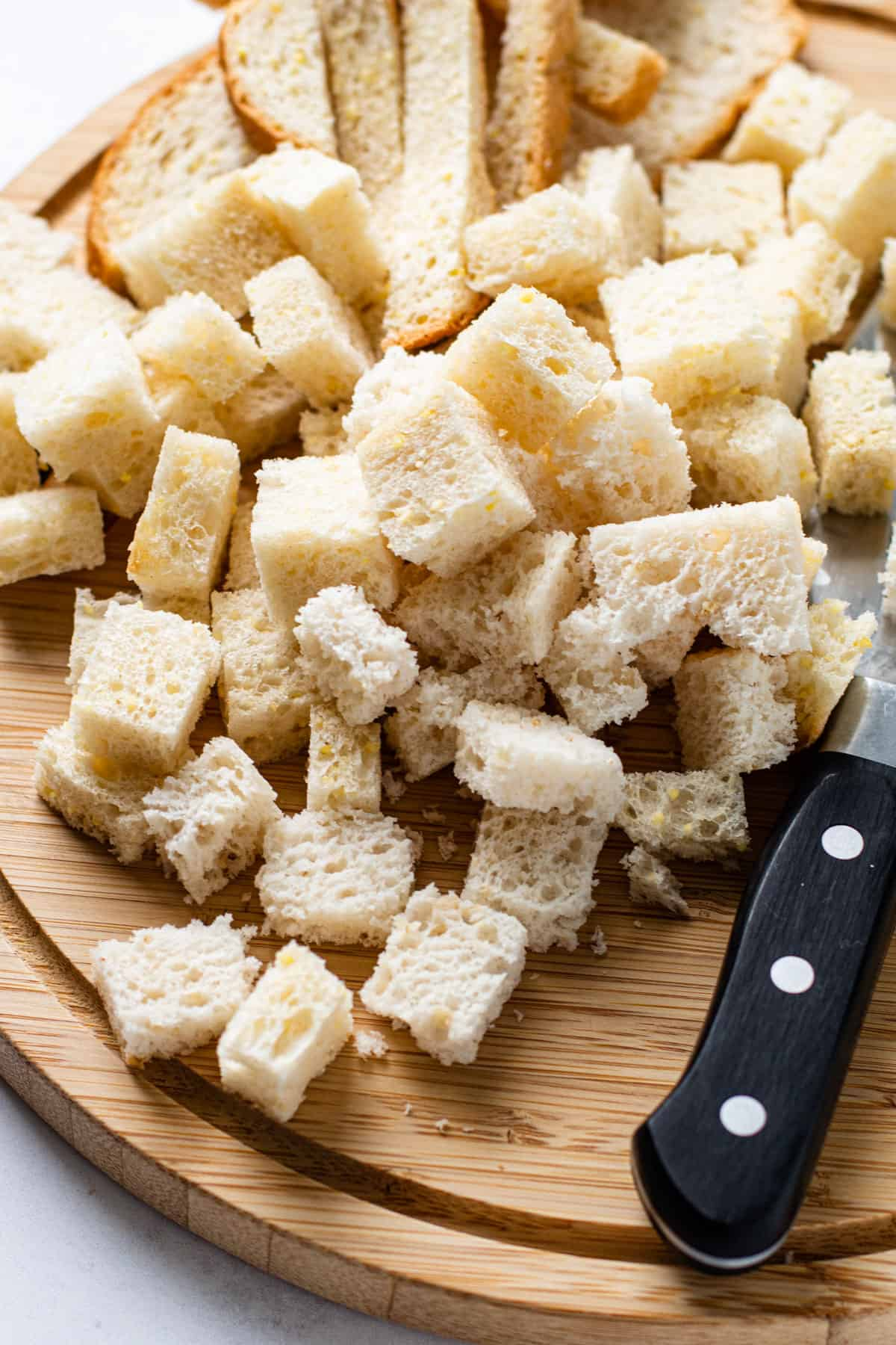 Bread cubes for croutons.