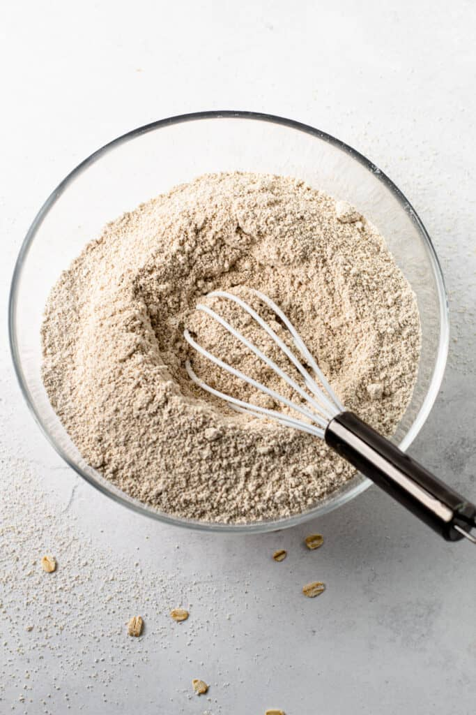 Homemade oat flour in a bowl.