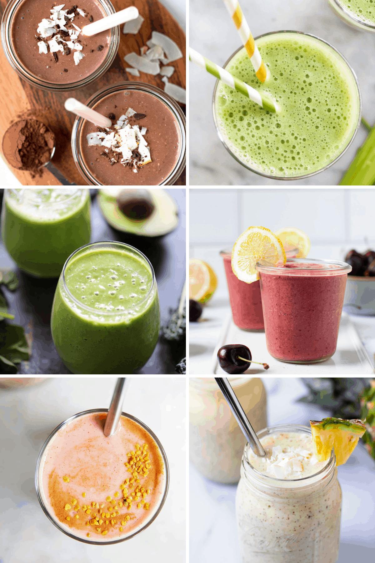 Six smoothie recipes.