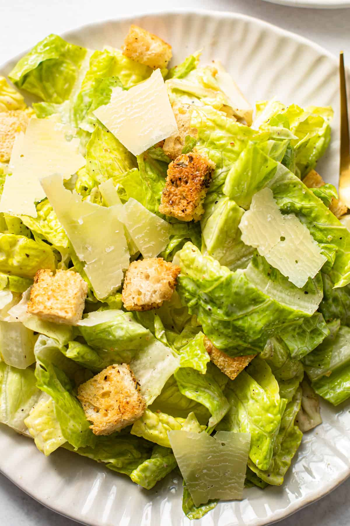 A simple homemade Caesar salad.
