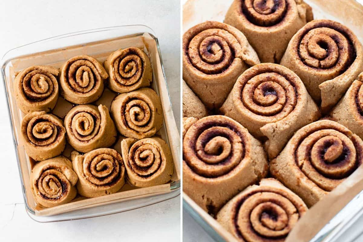 Proofed and baked cinnamon rolls.
