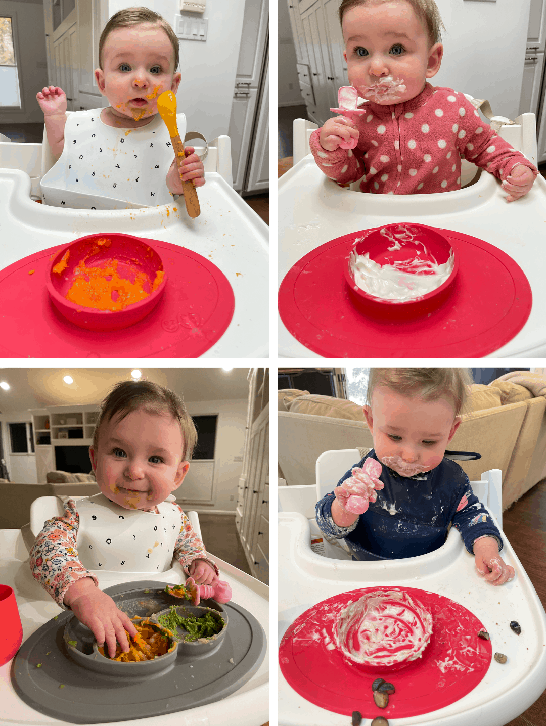 Baby eating different foods at 6 months old using BLISS Method