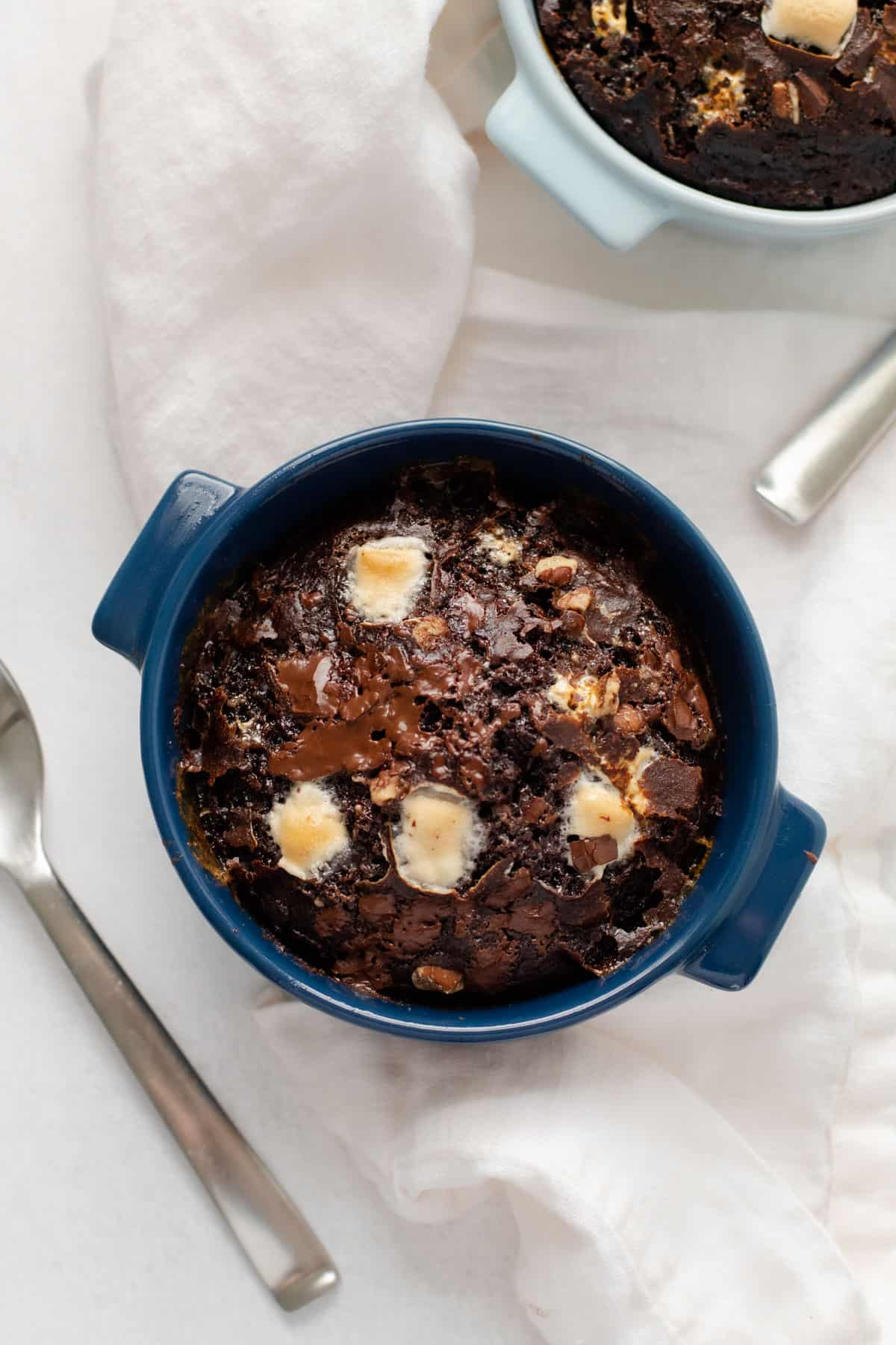 Baked Chocolate Oats with marshmallows and nuts.